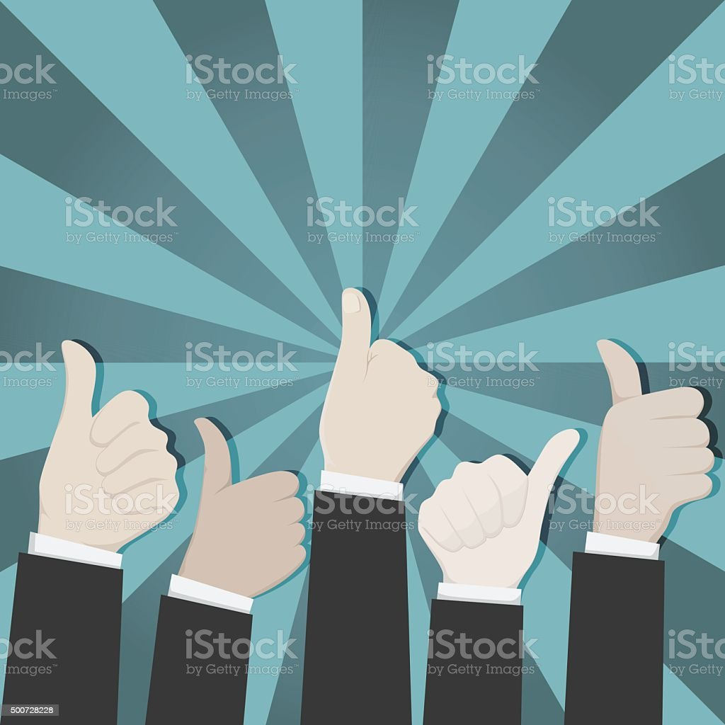 Thumbs up on green explosion background. vector art illustration