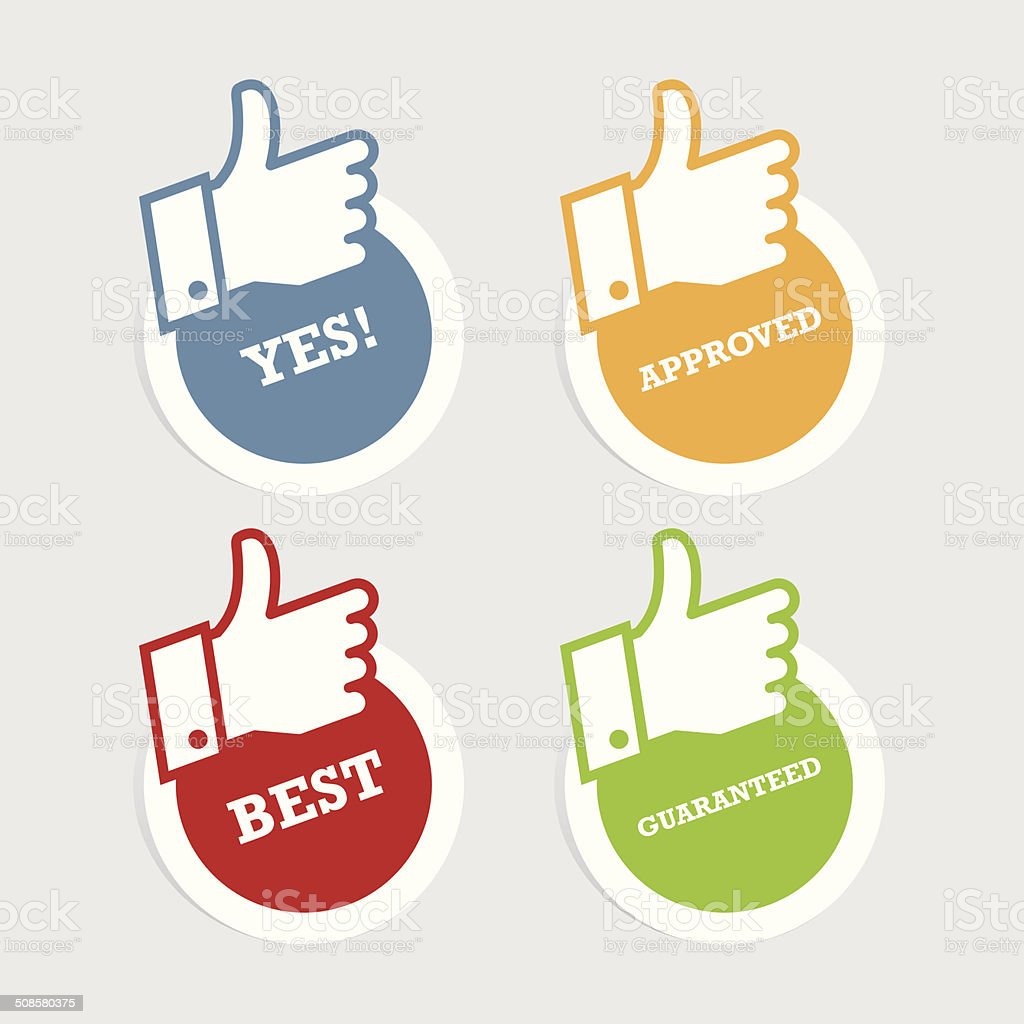 Thumbs Up Paper Stickers vector art illustration