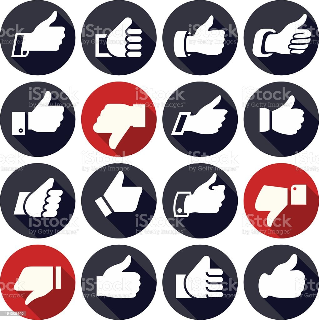 Thumbs up, set icons on buttons vector art illustration