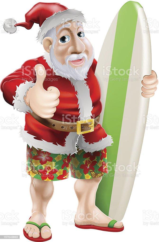 Thumbs up surfing Santa Claus royalty-free stock vector art