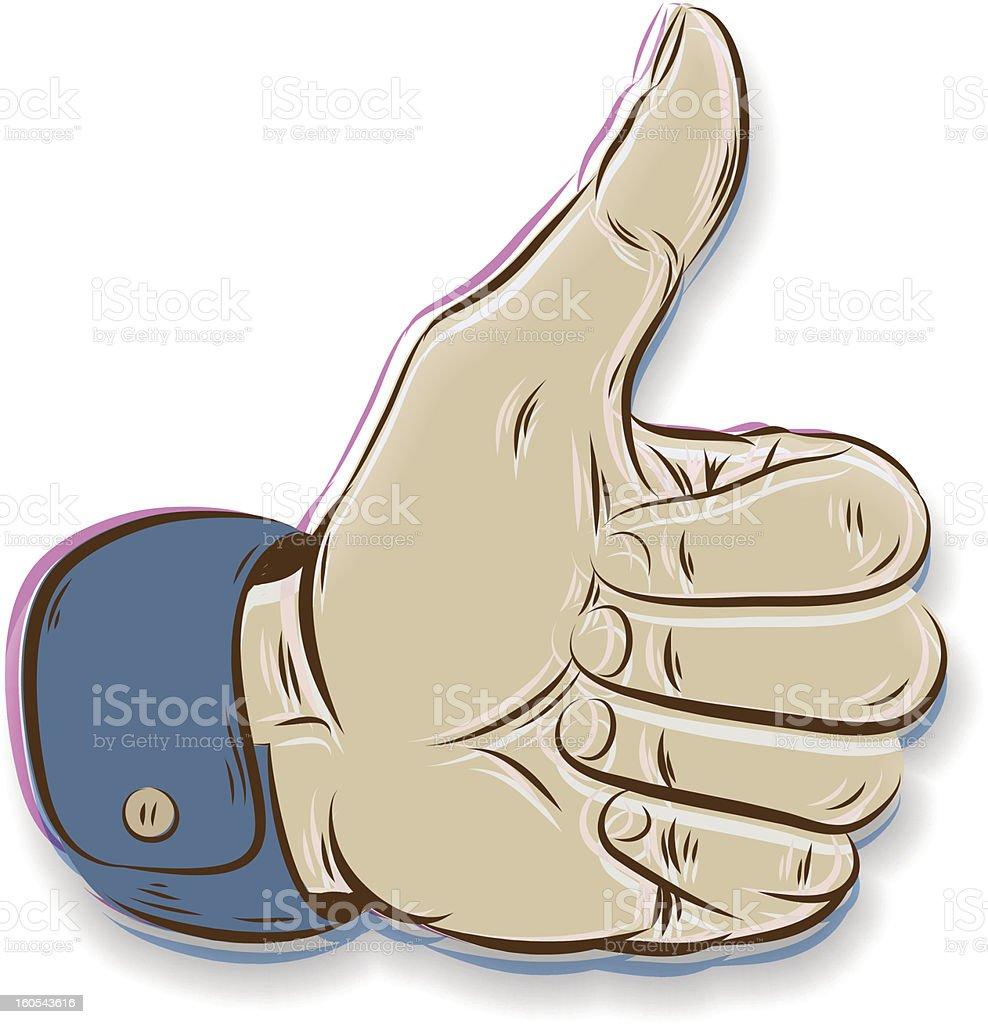 Thumbs Up symbol hand drawn royalty-free stock vector art