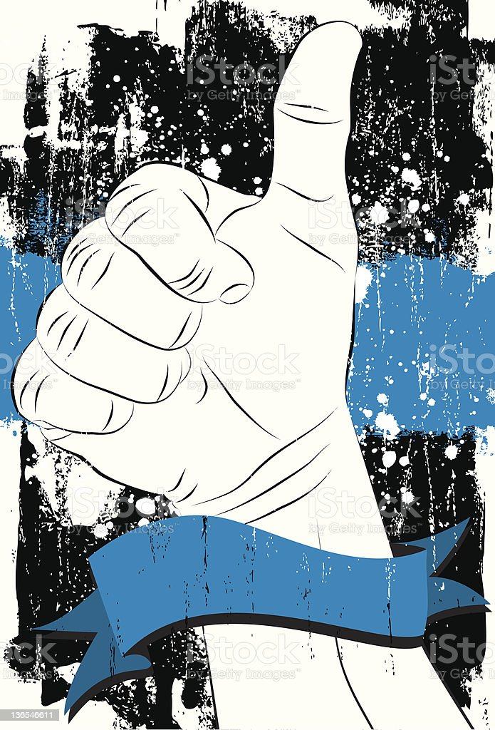 thumbs up with a blue banner royalty-free stock vector art