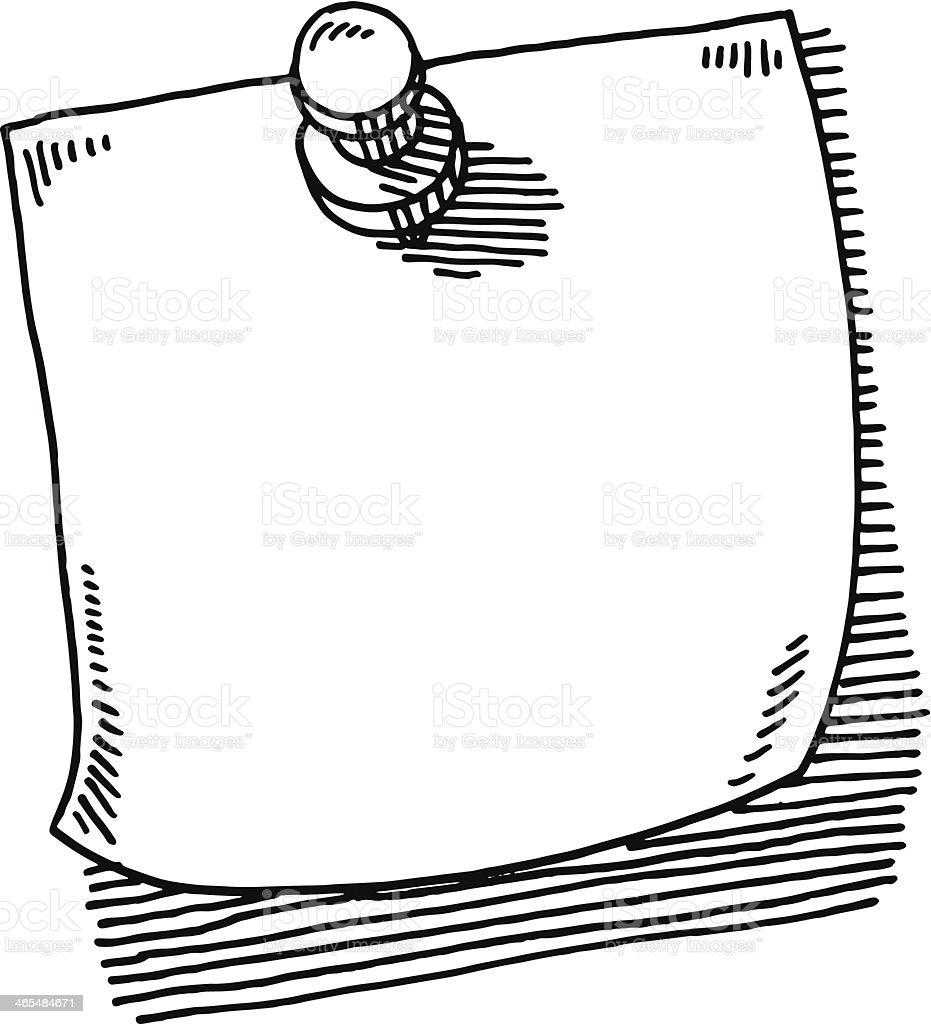 Thumbtack Note Paper Drawing vector art illustration