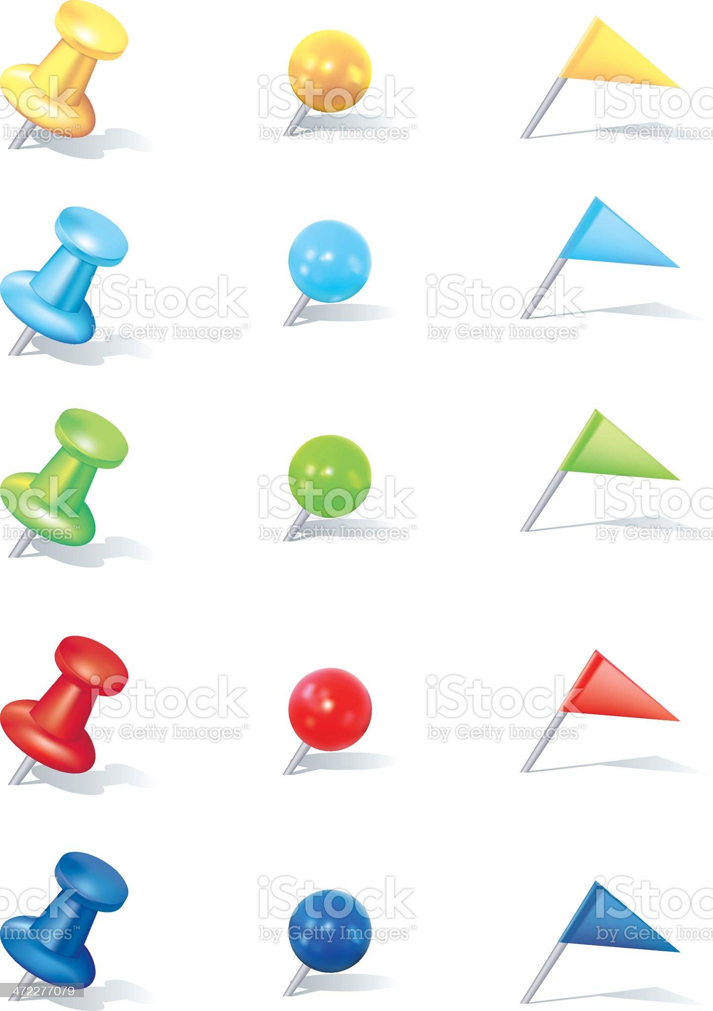 Thumbtack Set. royalty-free stock vector art