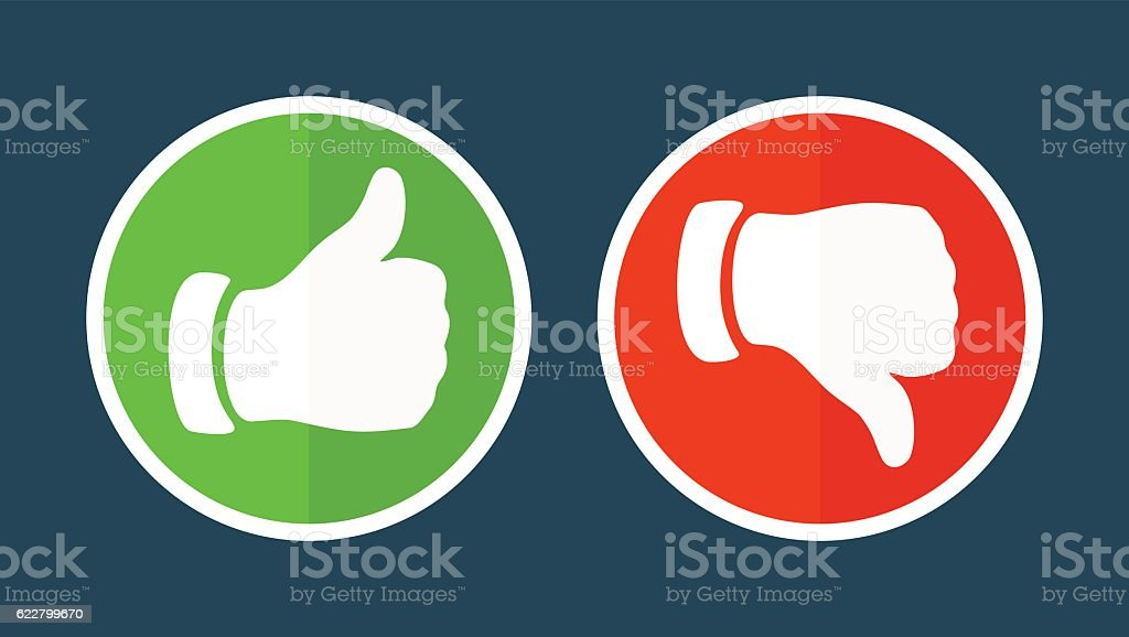 Thump Up and Thump Down Hands - vector illustration vector art illustration