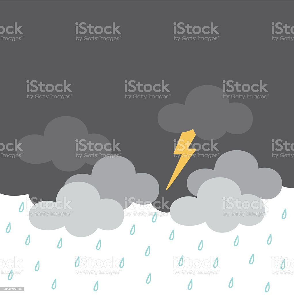 thunder cloud vector art illustration