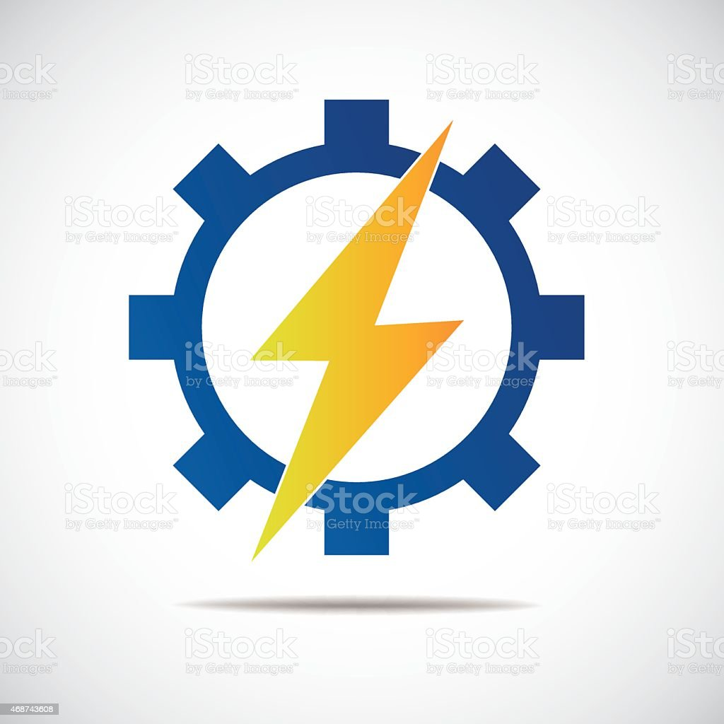 Thunderbolt in gear sign vector art illustration