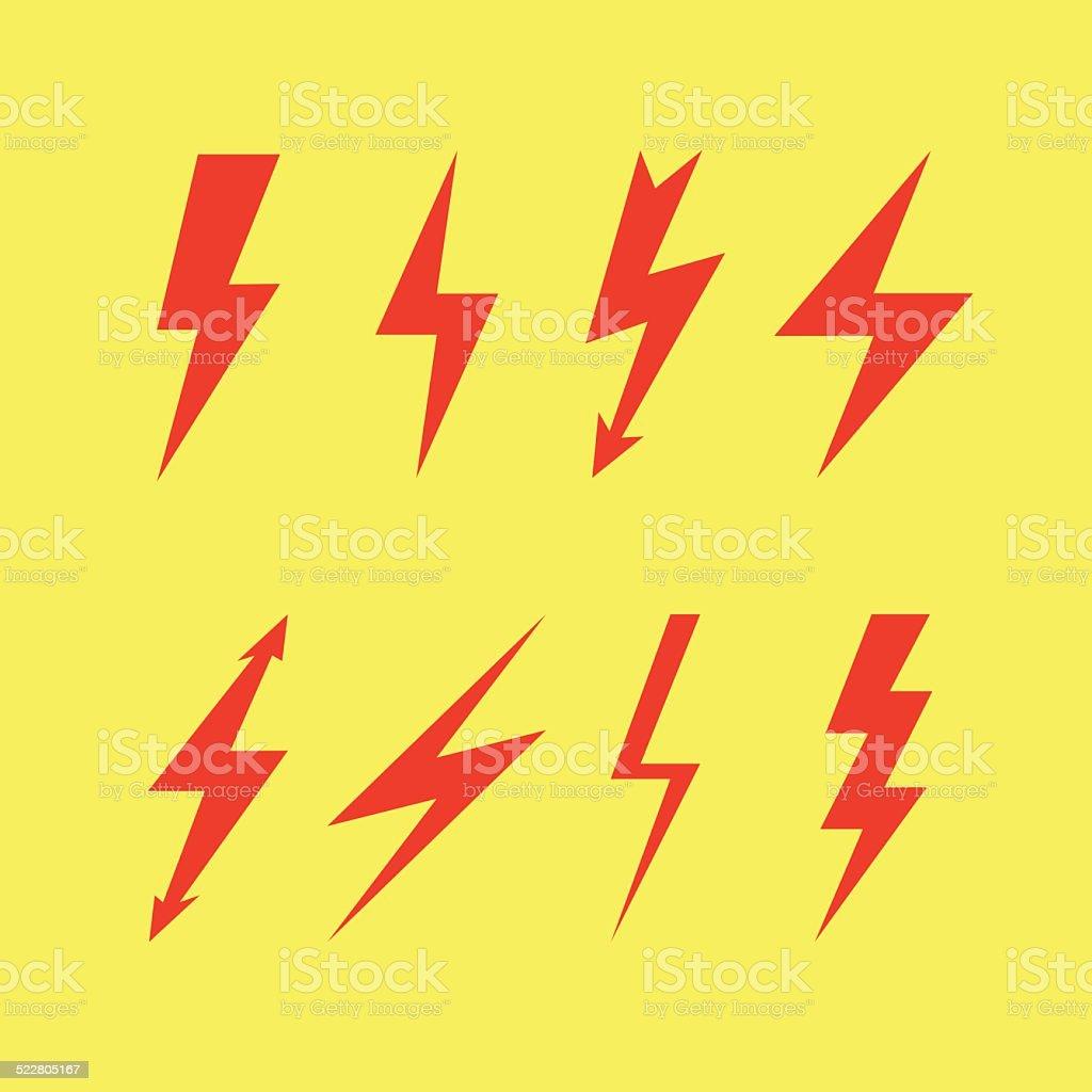 Thunderbolt signs , Flash icon vector art illustration