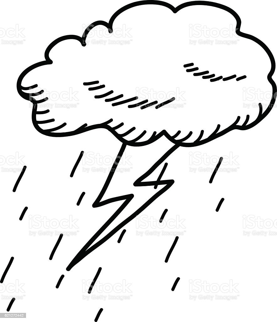 Thunderstorm Cloud Doodle Drawing Vector Art