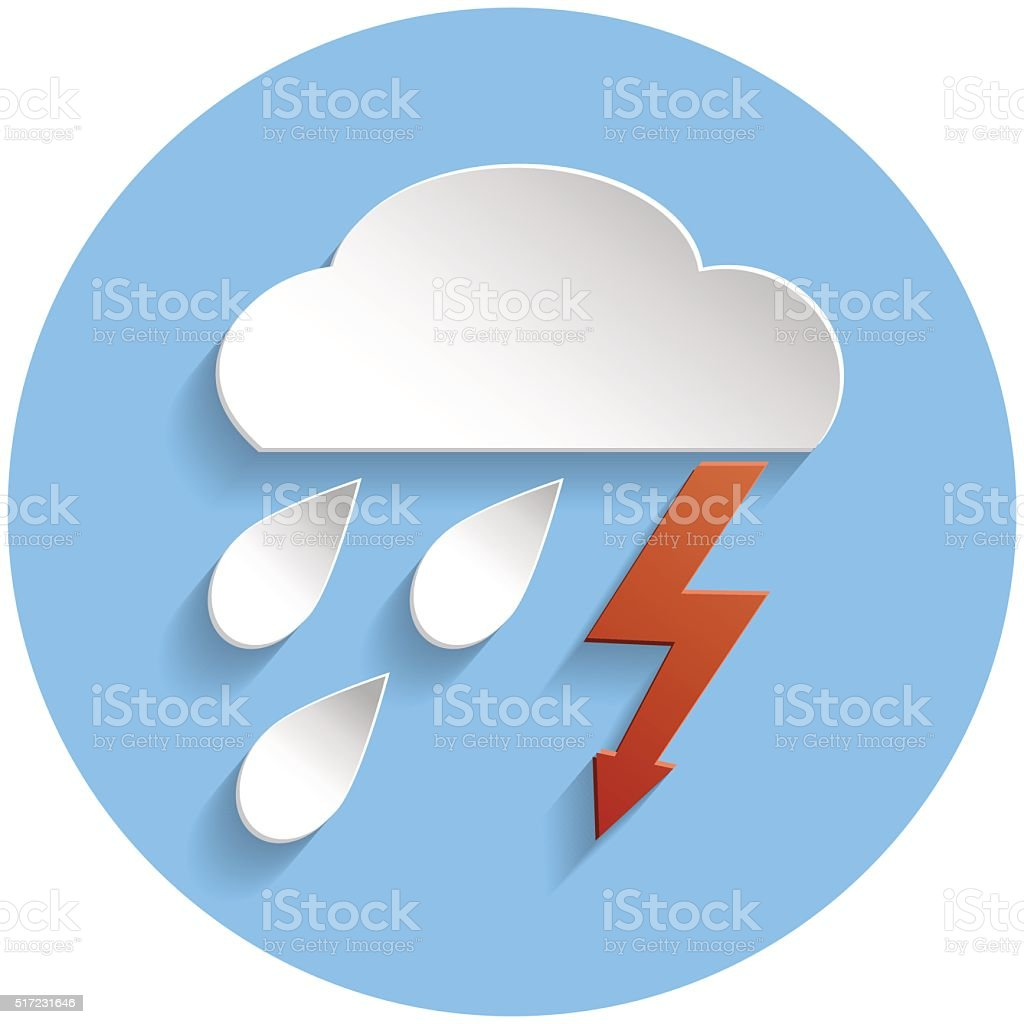 Thunderstorm cloud icon, paper style vector art illustration