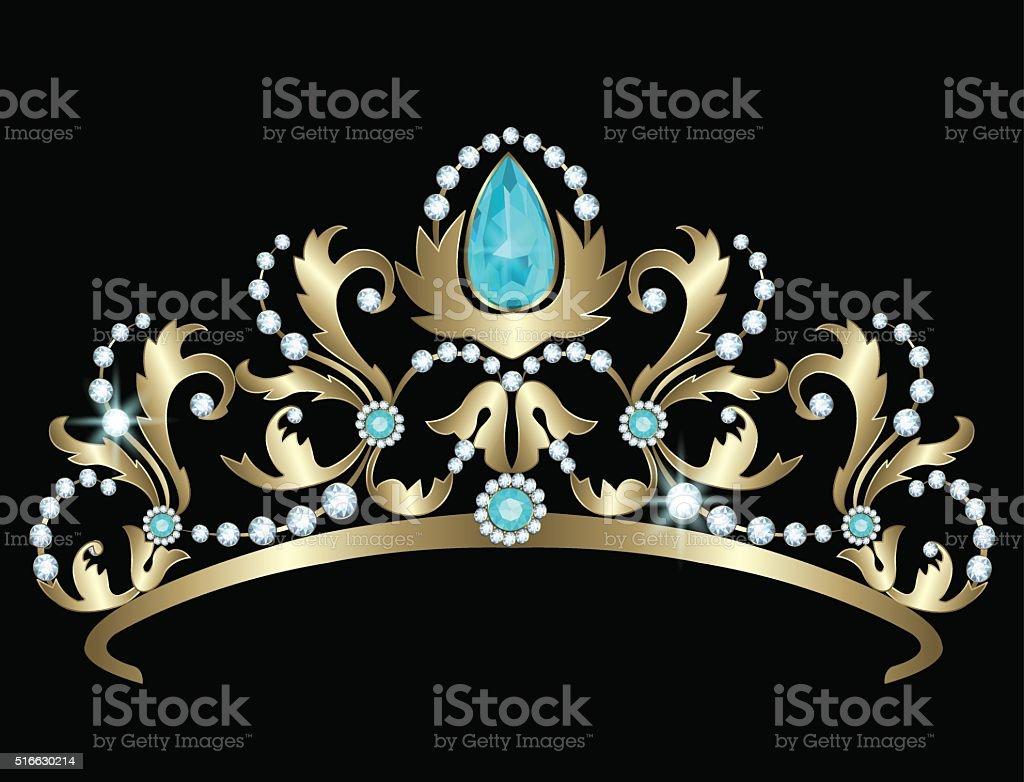 Tiara with diamonds and aquamarines vector art illustration