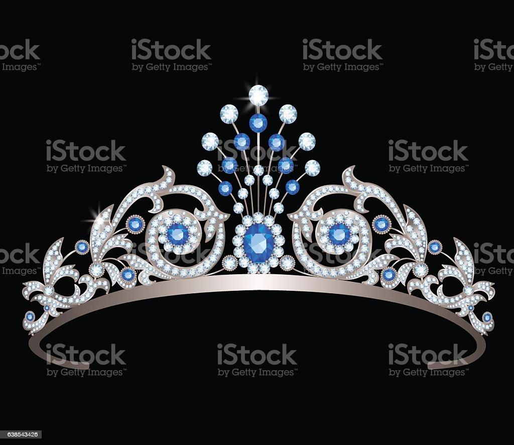 tiara with sapphires vector art illustration