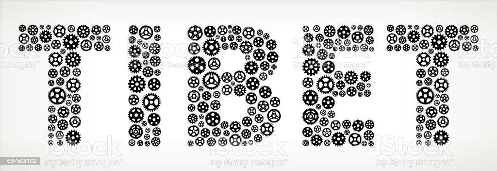 Tibet Black Gears Vector Graphic Illustration vector art illustration