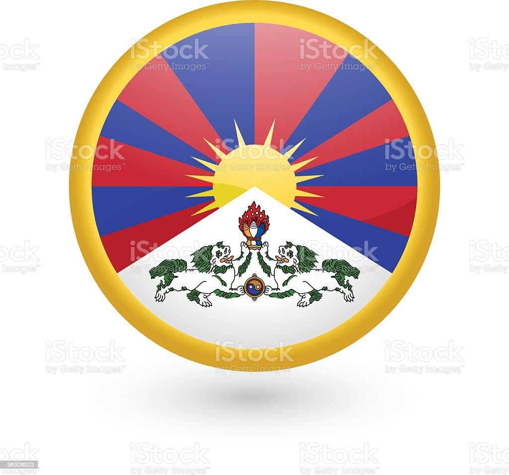 Tibet flag vector button vector art illustration