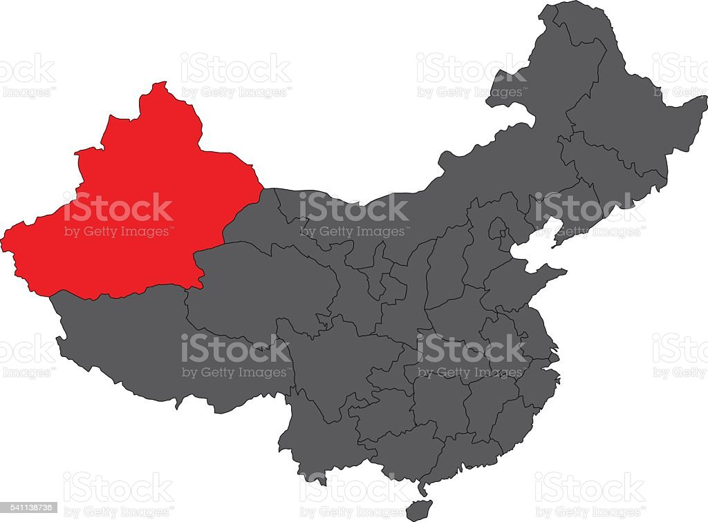 Tibet red map on gray China map vector vector art illustration