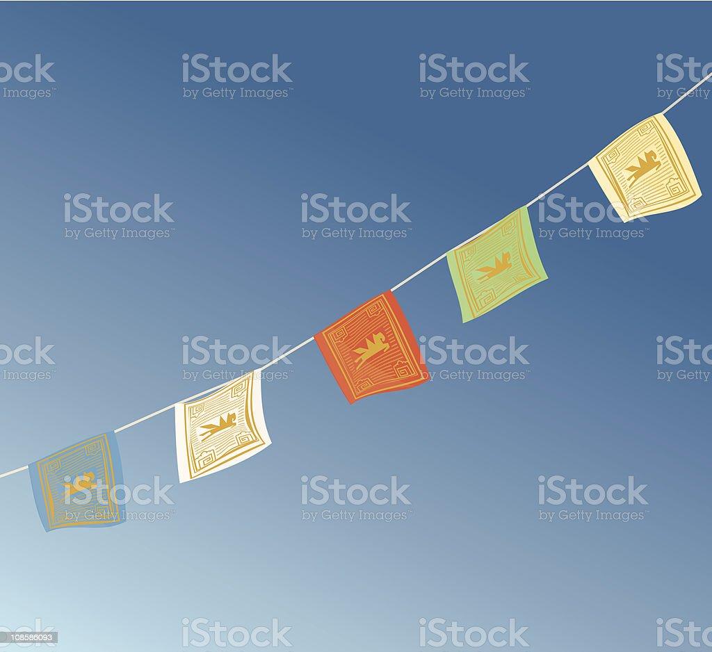 Tibetan Prayer Flags blowing in the wind vector art illustration