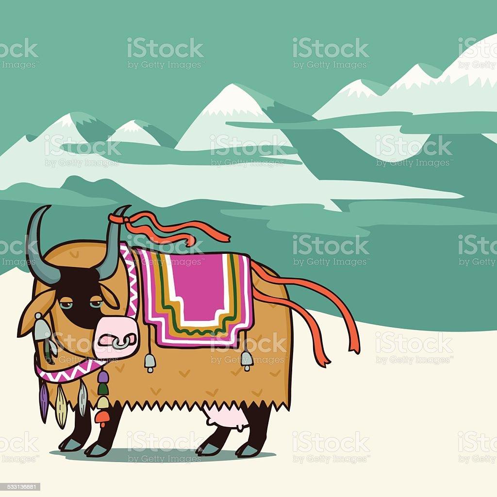 Tibetan yak vector art illustration