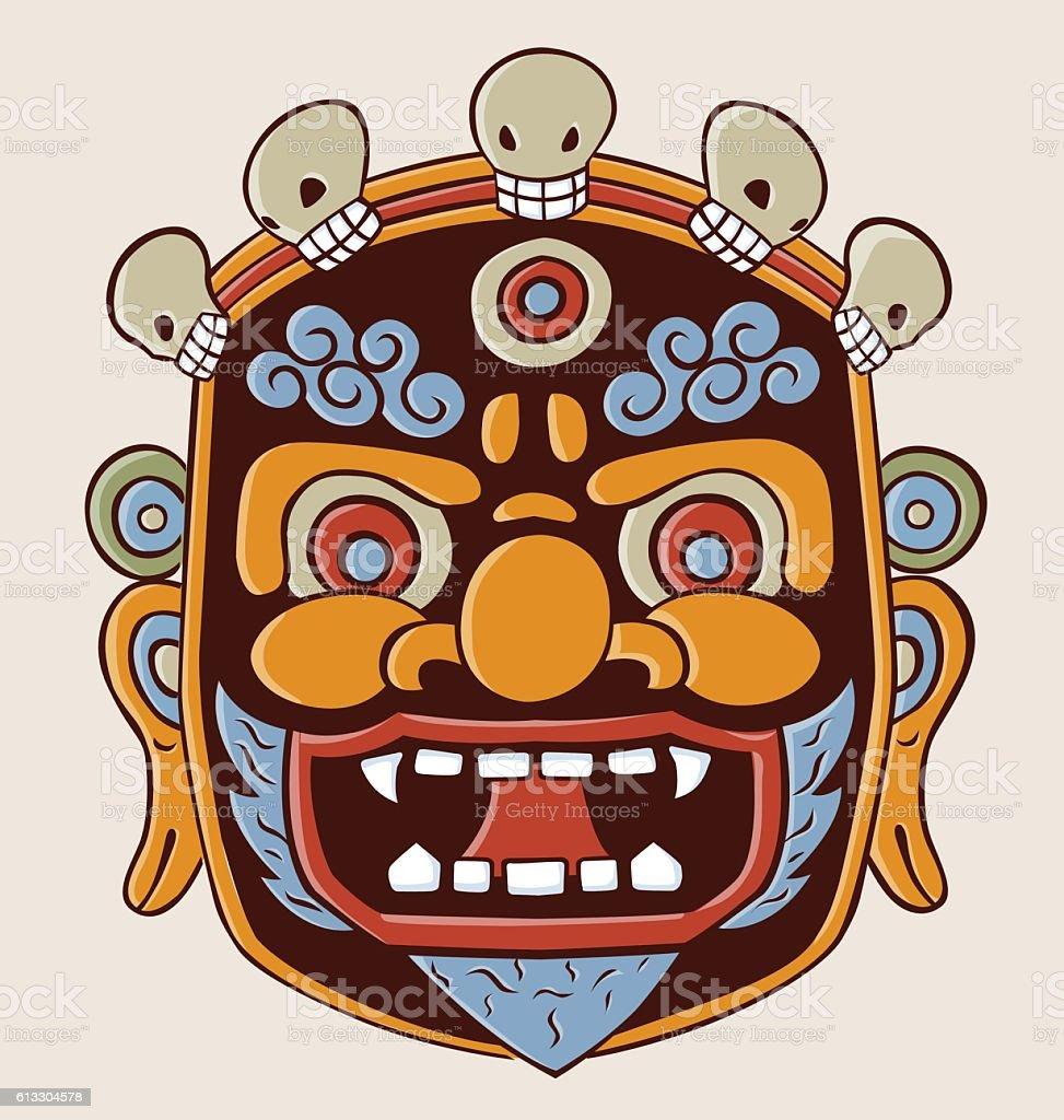 Tibetian Mask vector art illustration