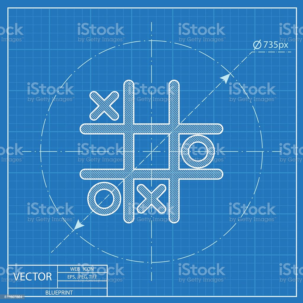 Tic tac toe game vector blueprint icon vector art illustration