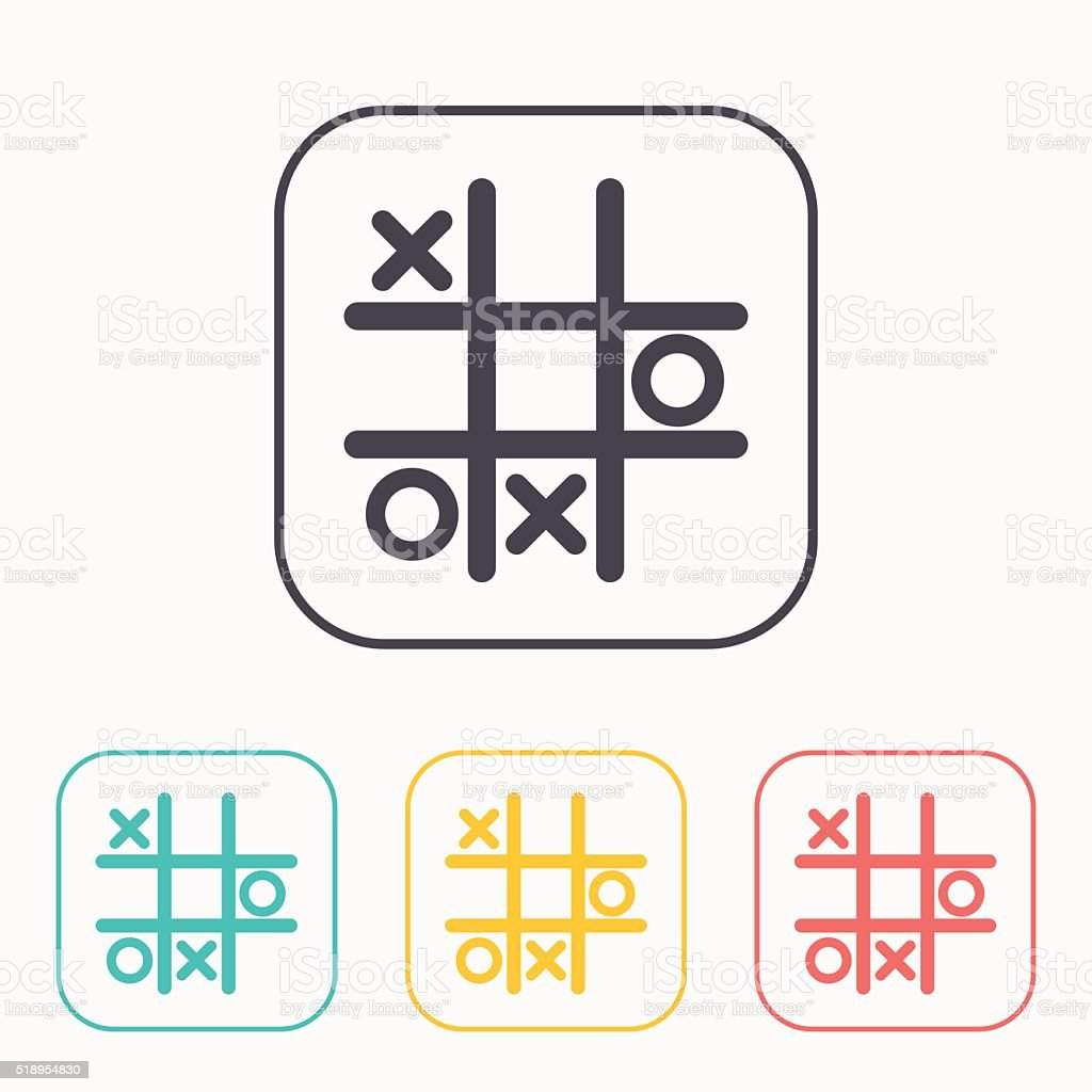 Tic tac toe game vector color icon set vector art illustration