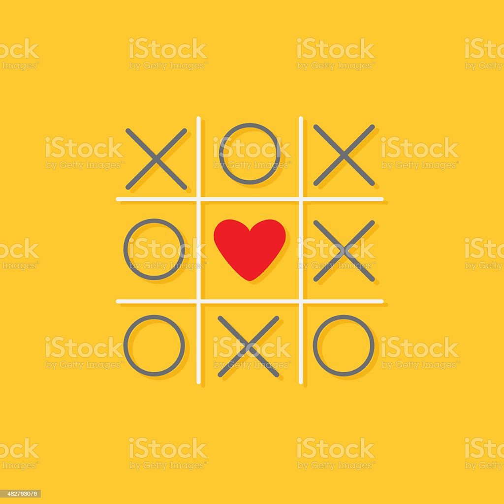 Tic tac toe game with cross and red heart sign vector art illustration