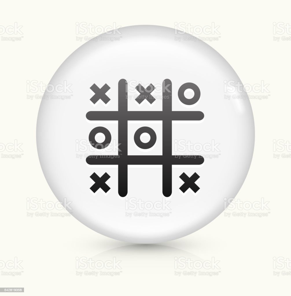 Tic Tac Toe icon on white round vector button vector art illustration