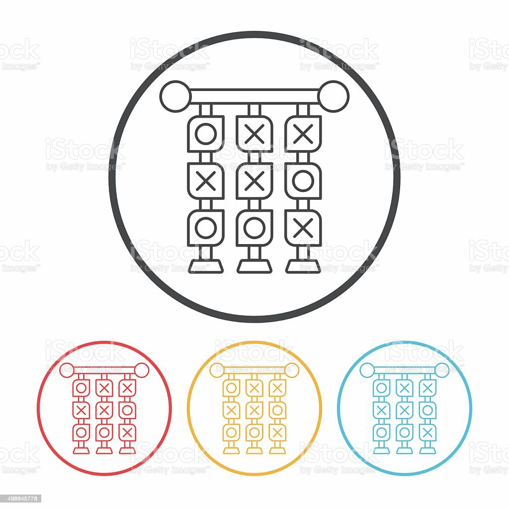 Tic Tac Toe line icon vector art illustration