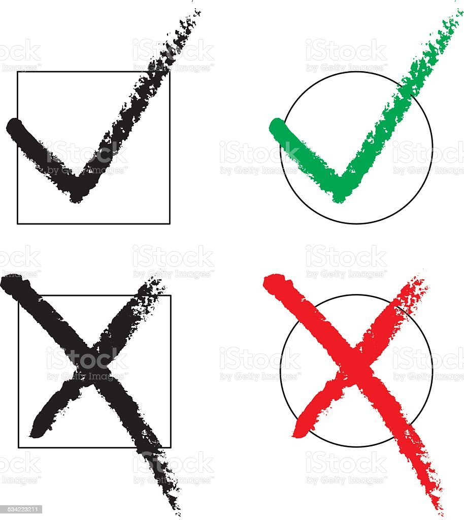 Tick and cross / check marks vector art illustration