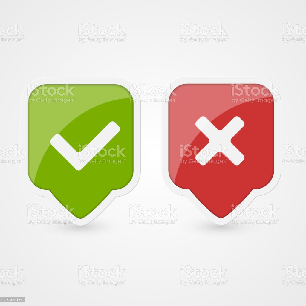 Tick and cross vector icons in green and red vector art illustration