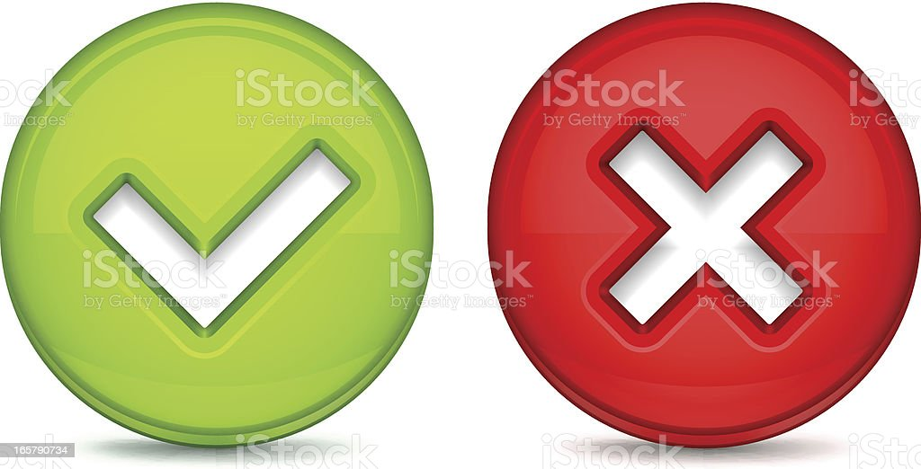 Tick and Delete Mark Buttons royalty-free stock vector art