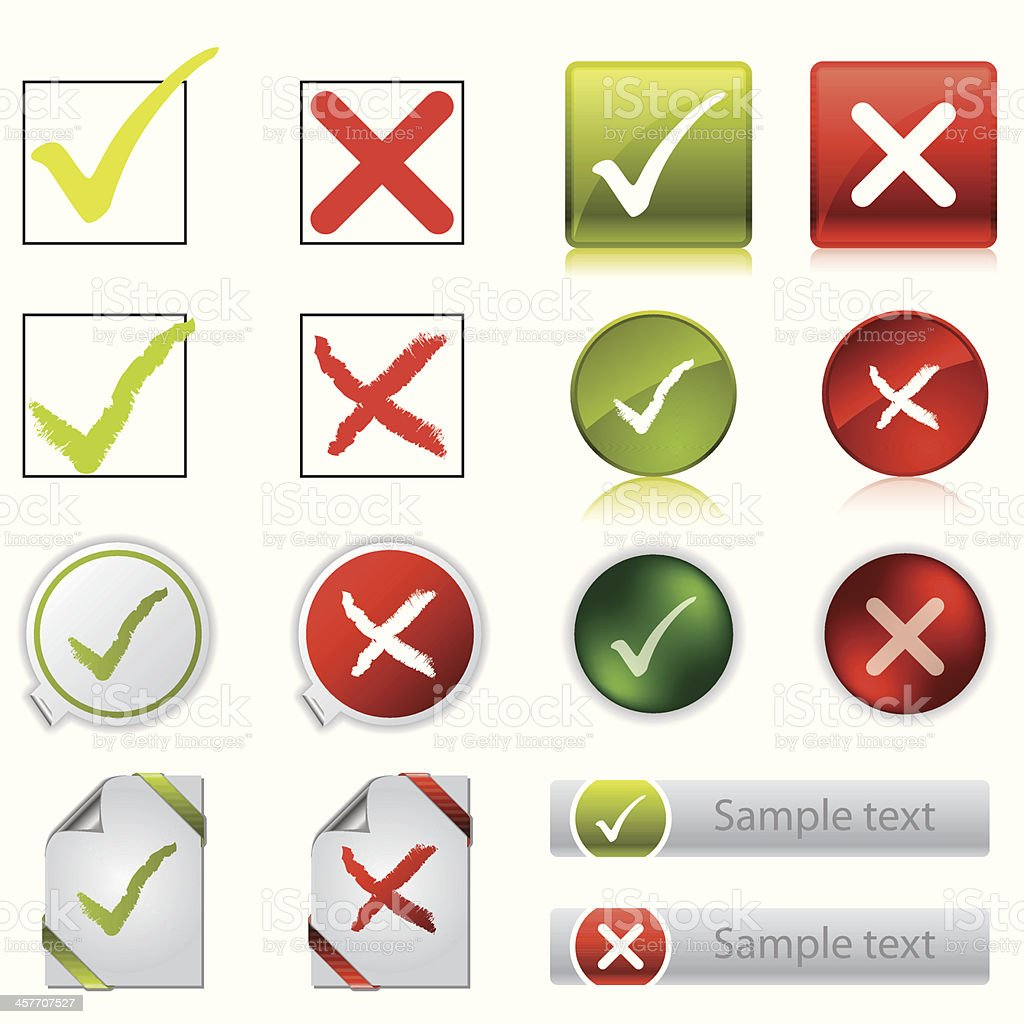 Tick & cross stickers, buttons, and symbols vector art illustration
