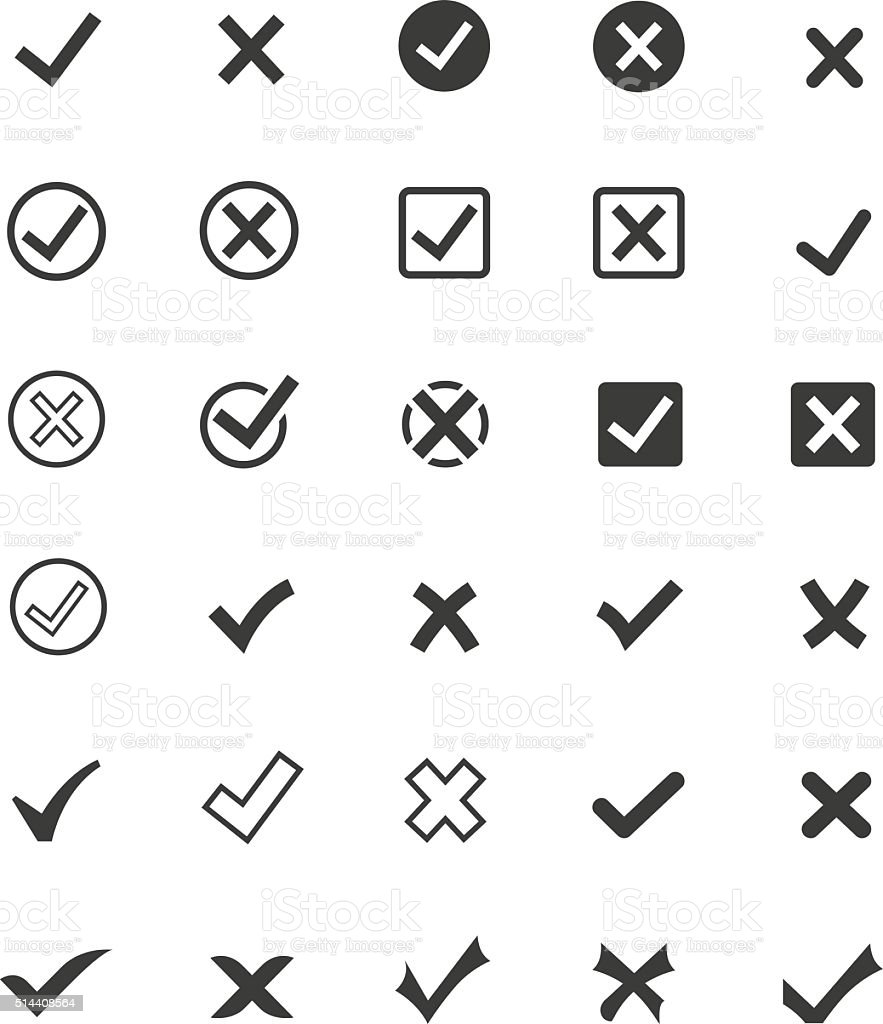 Tick mark icon set vector art illustration