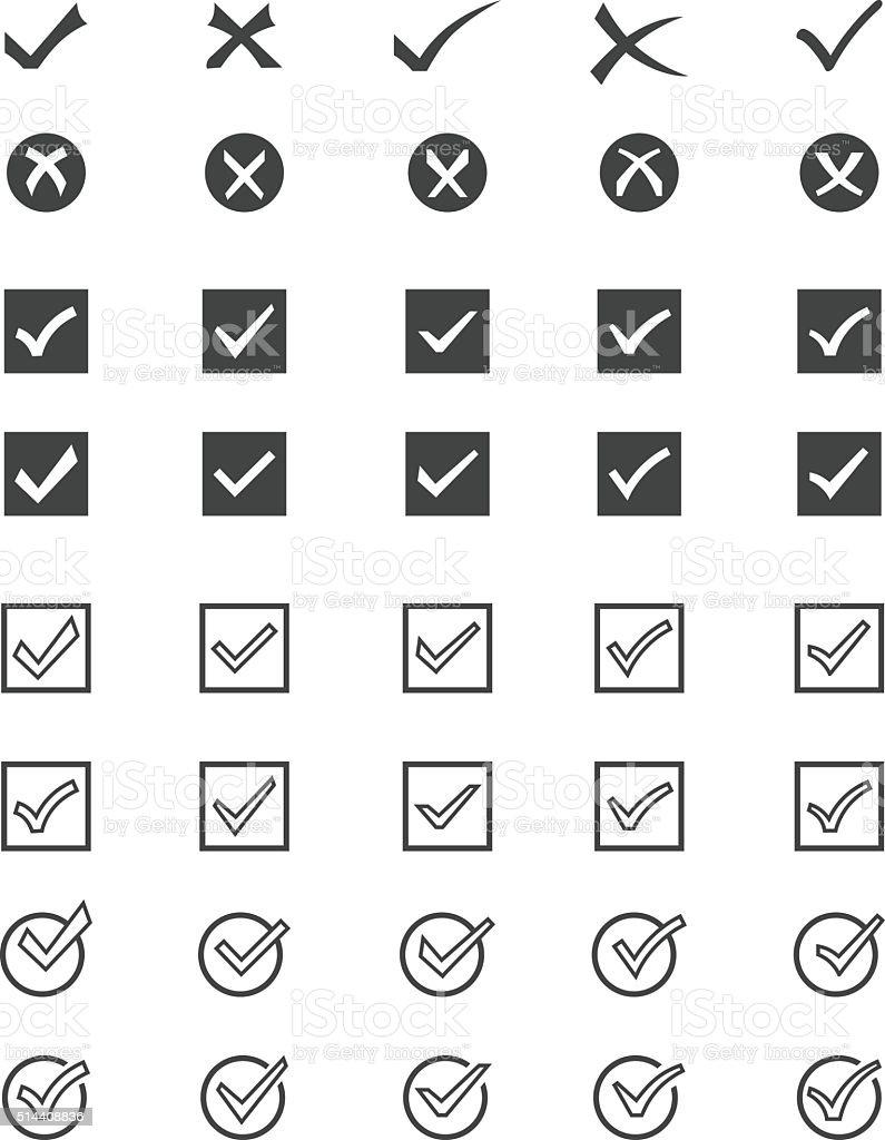 Tick mark icons vector art illustration