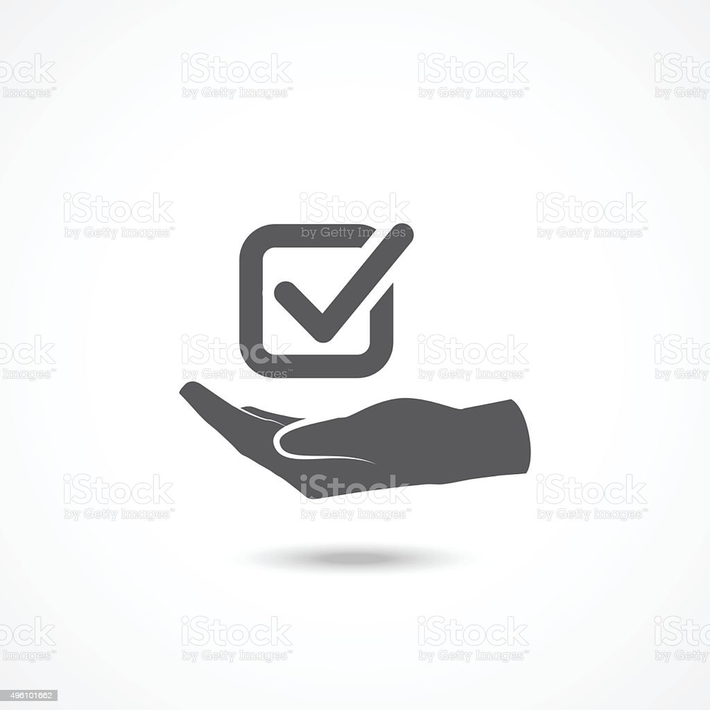 Tick with hand icon vector art illustration