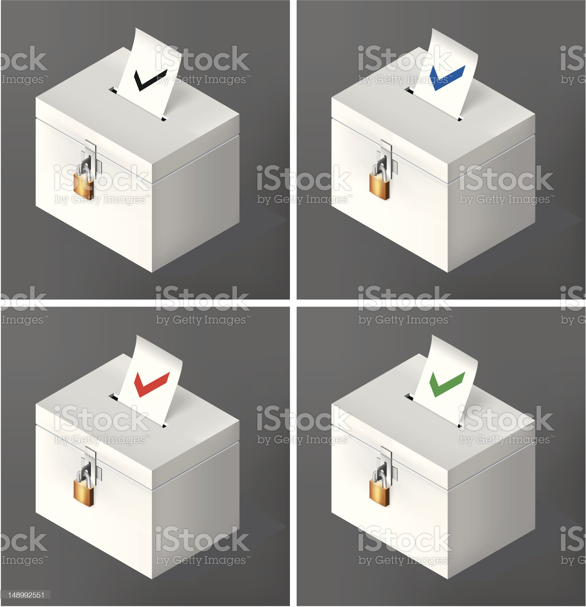 Ticked voting ballots royalty-free stock vector art