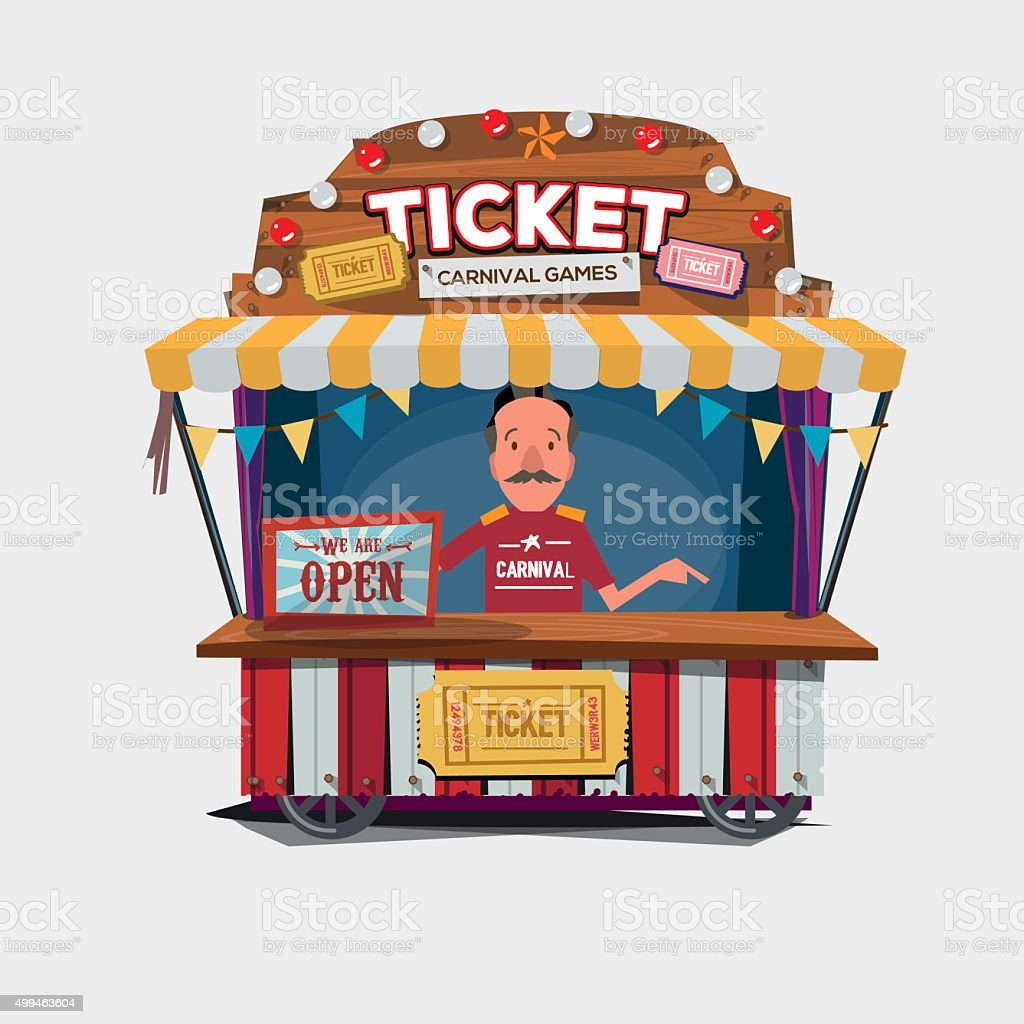 Ticket cart or booth in carnival festival. vintage vector art illustration