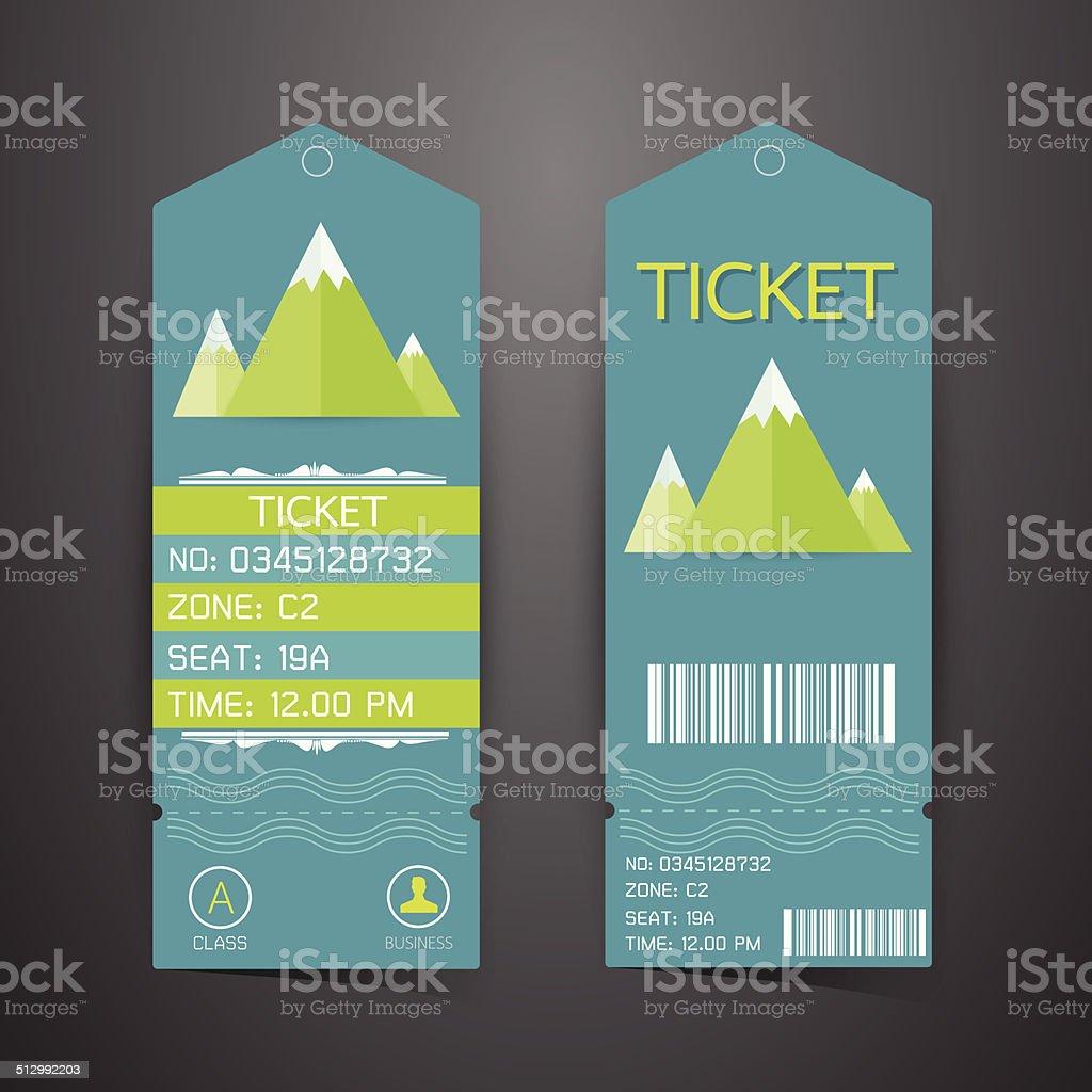 Ticket Design Template. Concept of Mountain Park vector art illustration