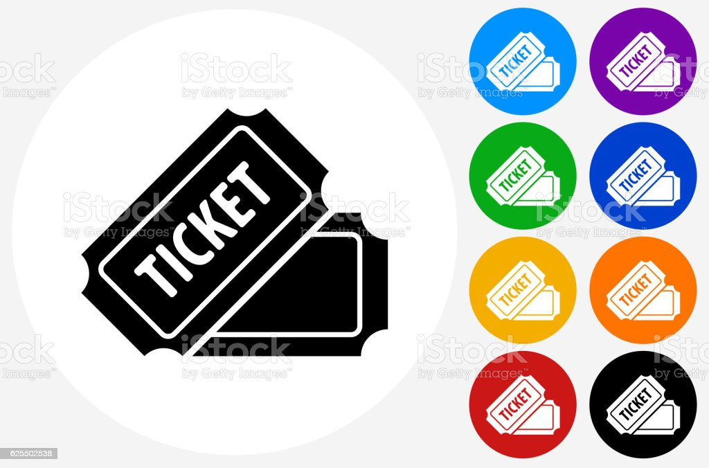 Ticket Icon on Flat Color Circle Buttons vector art illustration