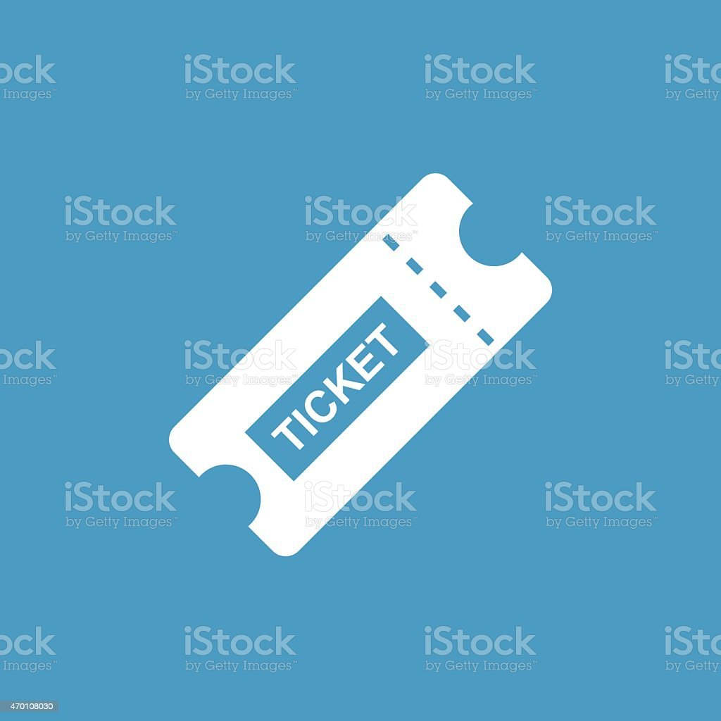 ticket icon, white on the blue background vector art illustration