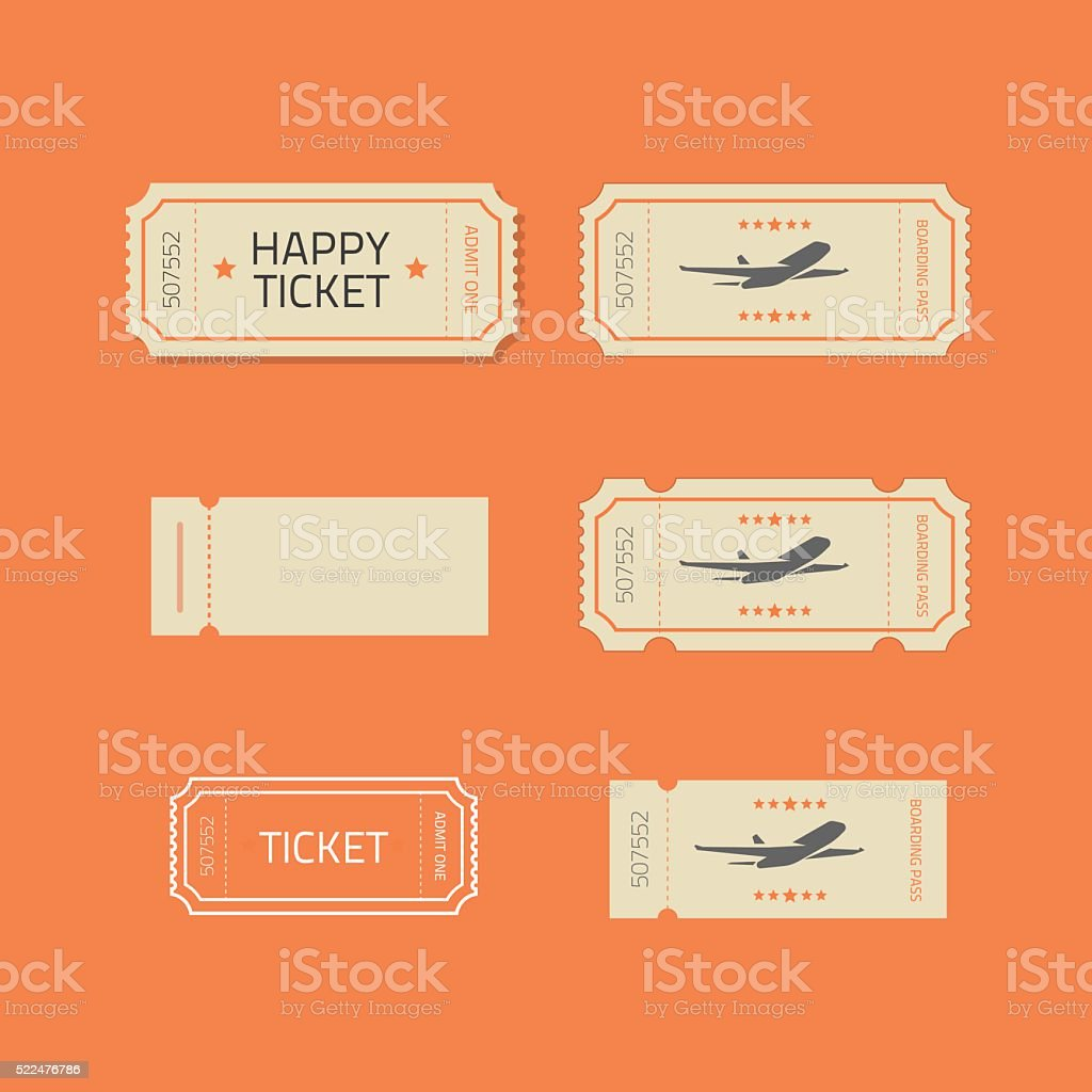 Ticket icons vector set isolated on orange background vector art illustration