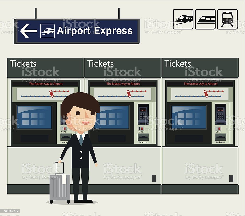 Ticket machine user vector art illustration