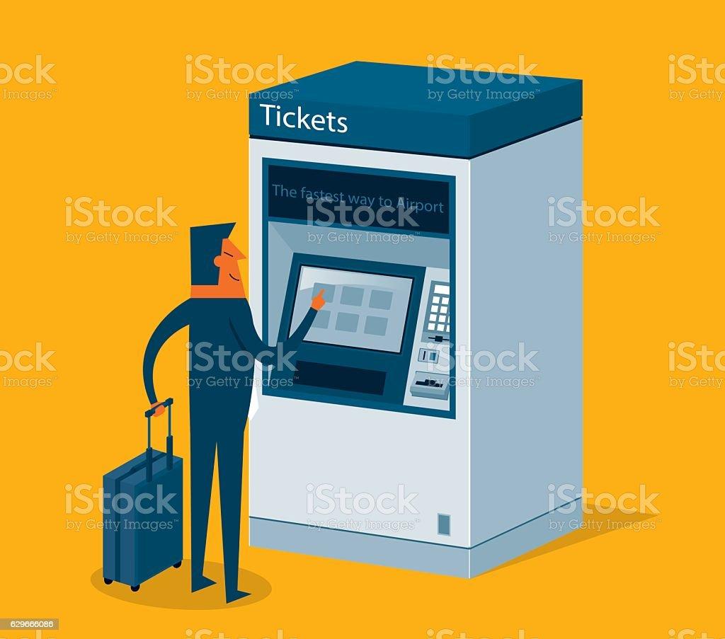 Ticket machine user vector art illustration