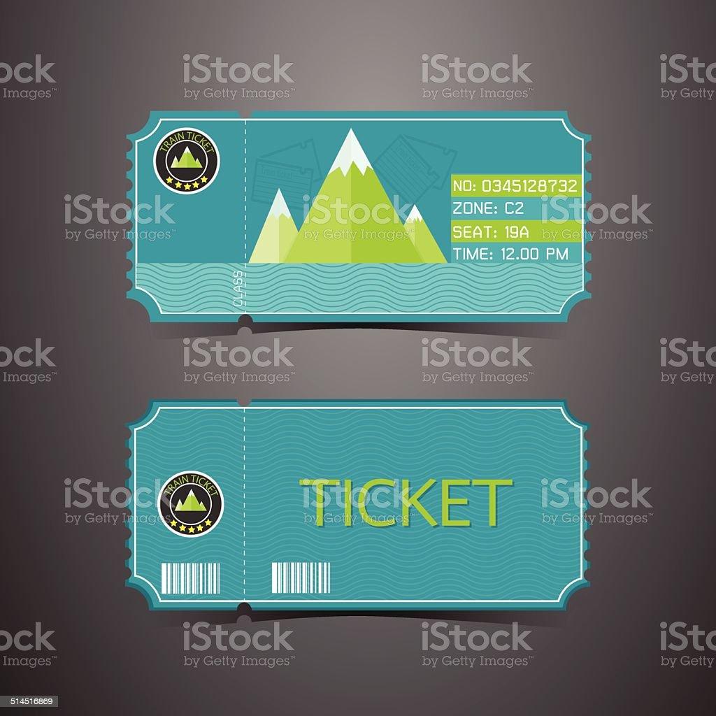 Ticket Mountain Park Retro Design Template vector art illustration
