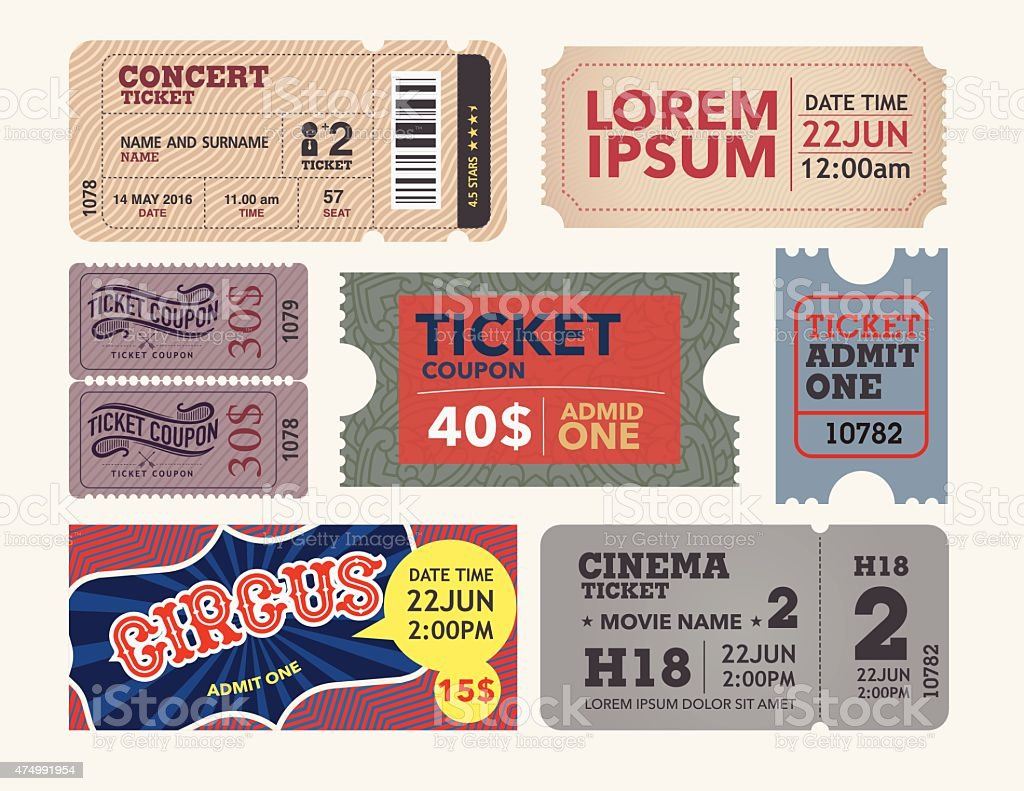 tickets collection in vintage and retro style. vector art illustration