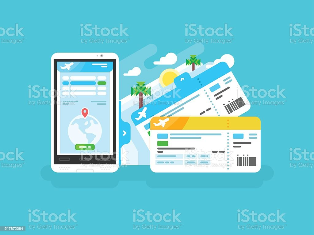 Tickets for the plane on a smartphone vector art illustration
