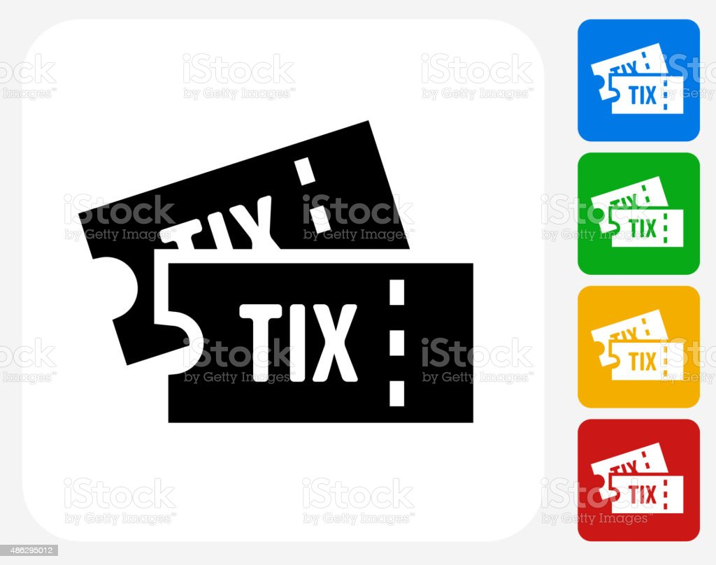 Tickets Icon Flat Graphic Design vector art illustration