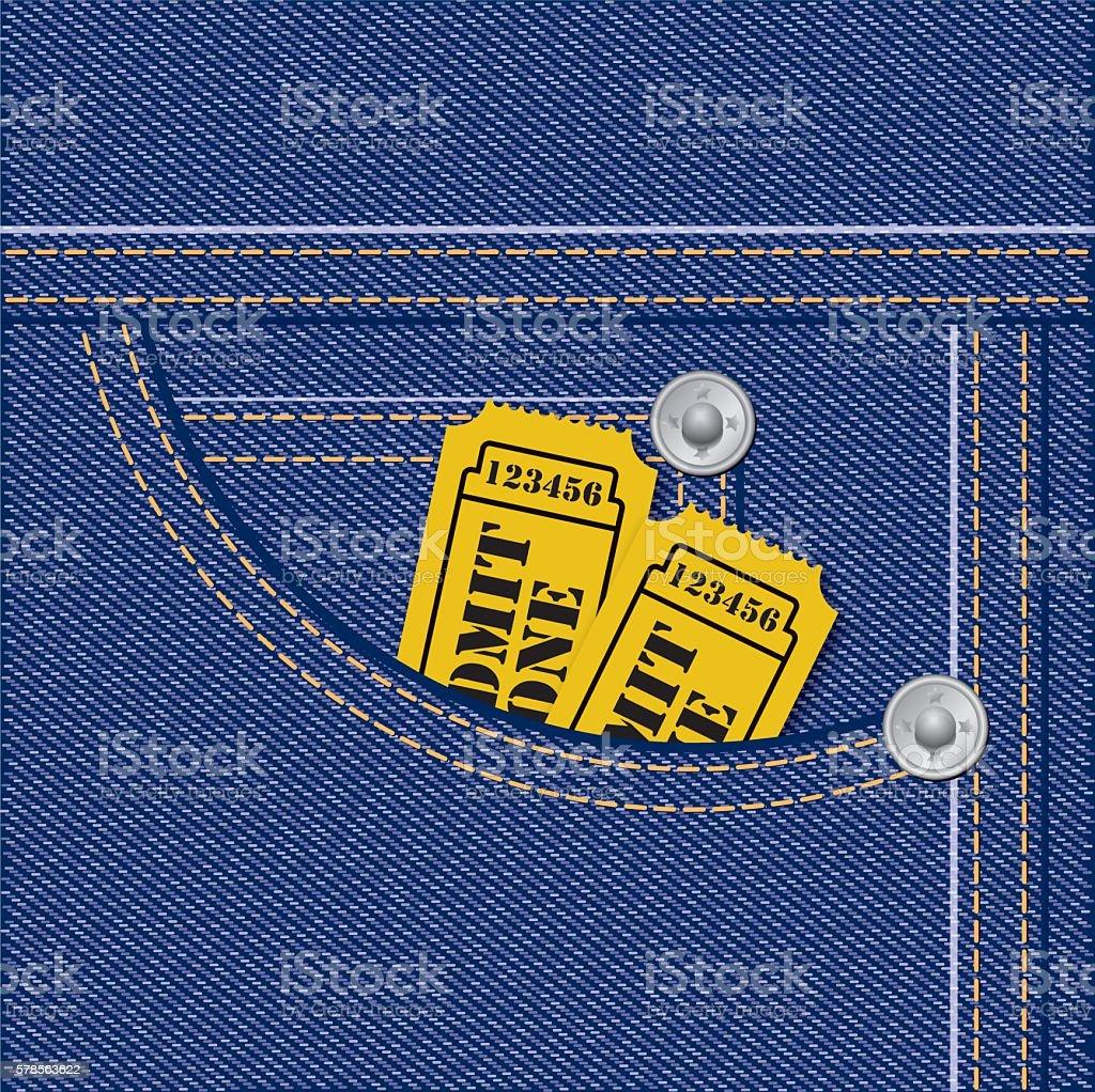 Tickets Inside Jeans Pocket vector art illustration