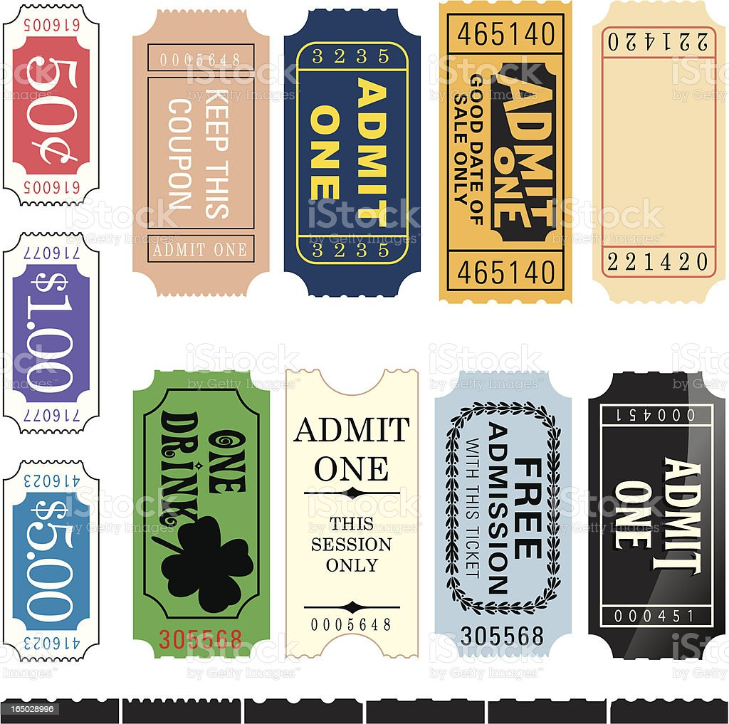 Tickets. Numbered (Perforated edges) royalty-free stock vector art