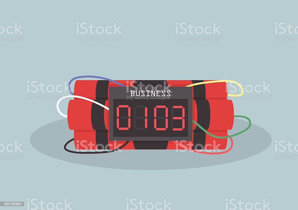 Ticking time bomb, Business concept vector art illustration