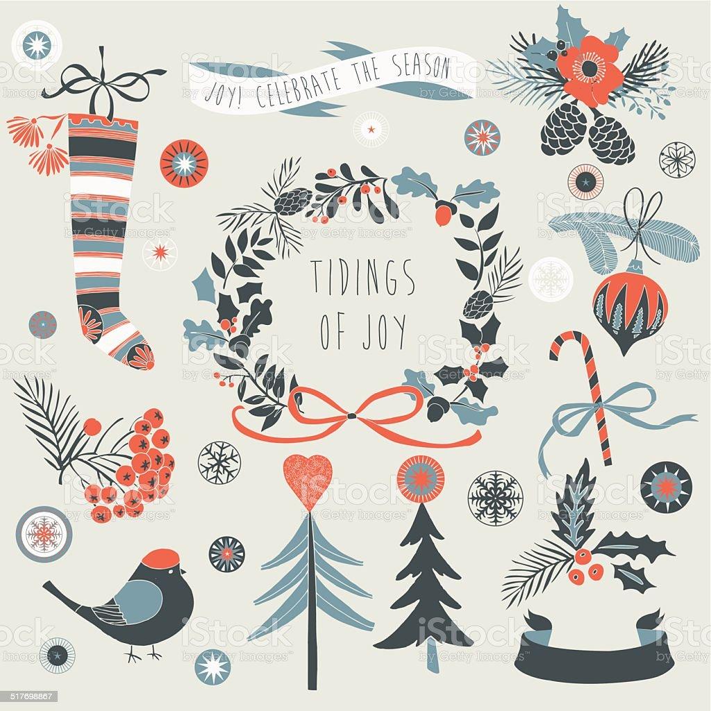 Tidings of Joy - Christmas card vector art illustration